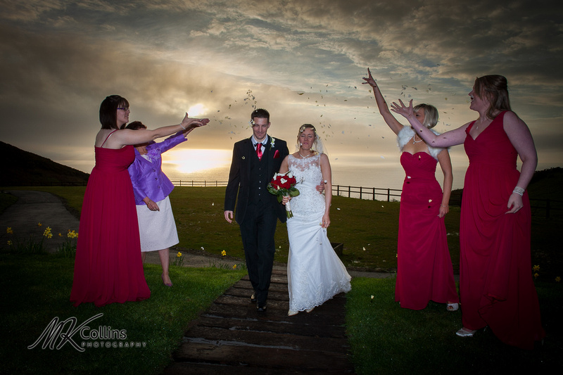 Ocean Kave wedding, confetti in the sunset