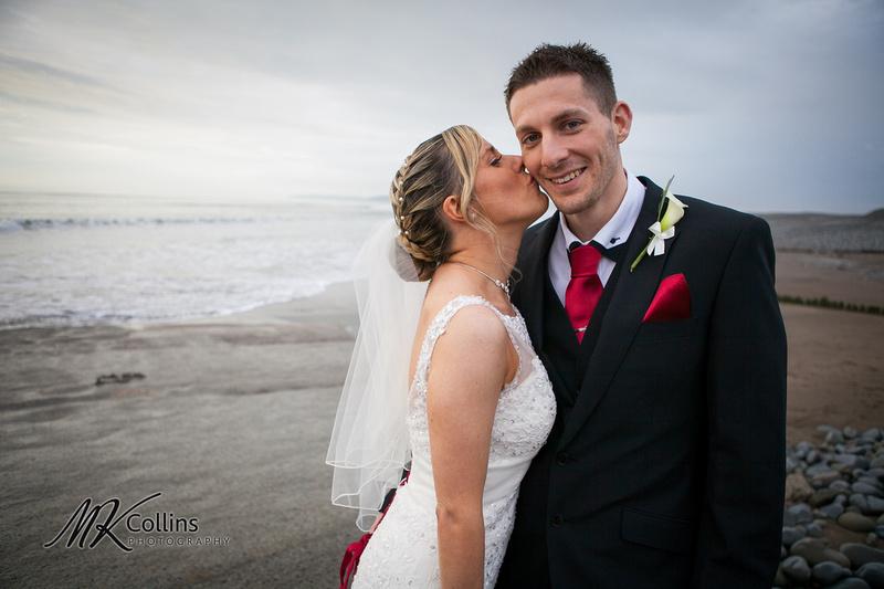 Ocean Kave wedding, westward Ho! beach with bride and groom