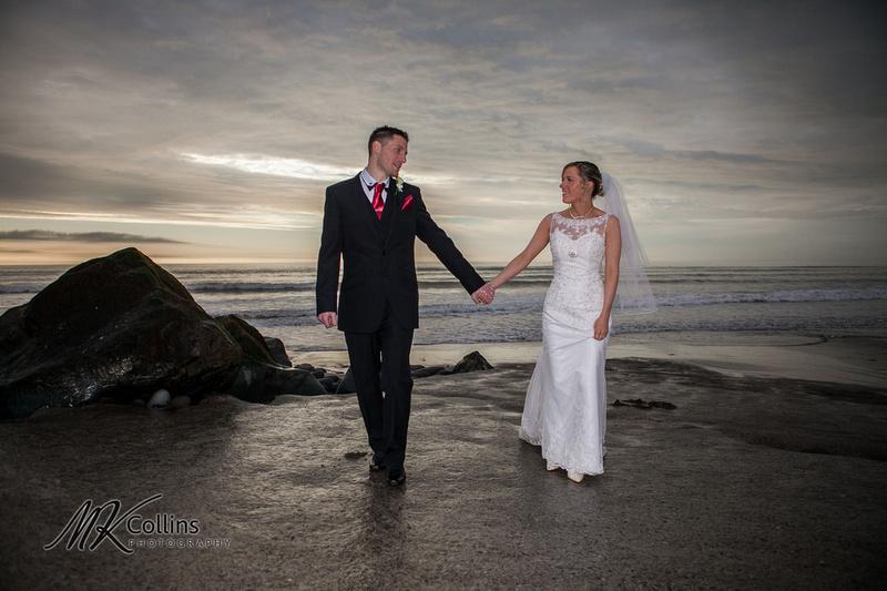 Ocean Kave wedding, bride and groom at westward Ho! beach