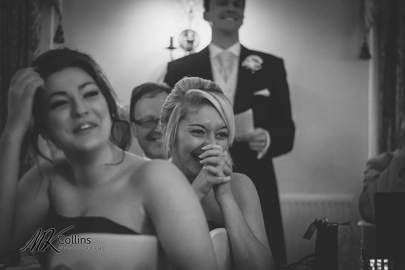 Bridesmaid expression during wedding speeches