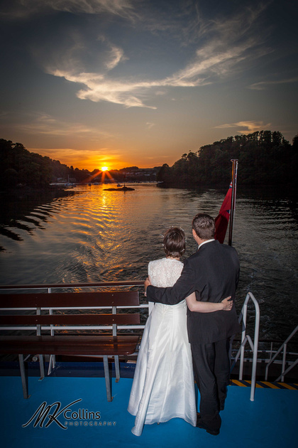Bride and Groom Dartmouth River at sunset