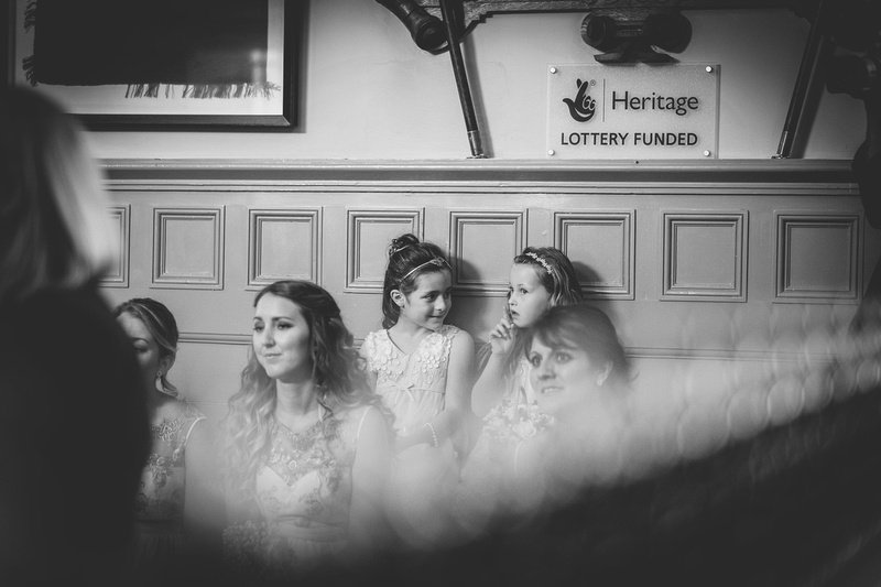 Barnstaple Guildhall and crowed beach wedding