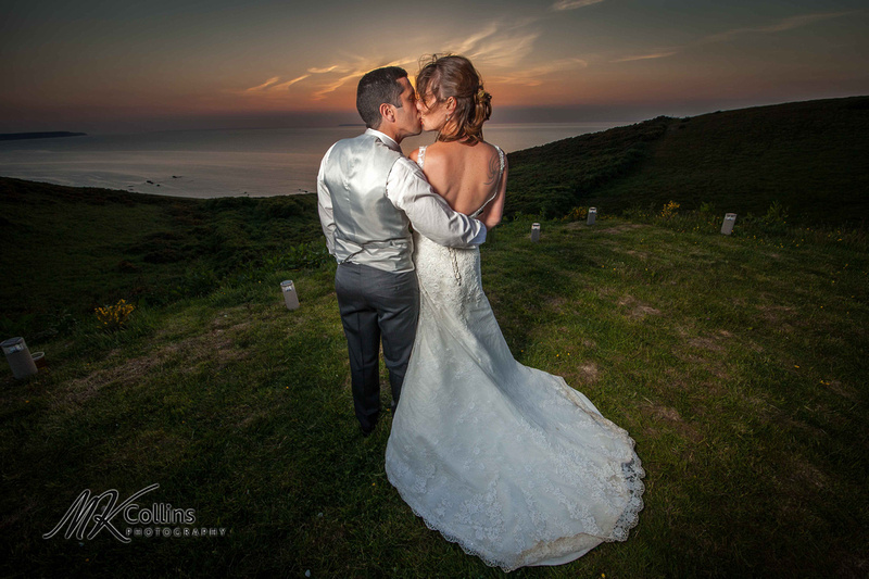 Bride and Groom sunset at Ocean Kave
