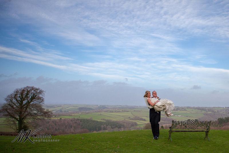 Bride and Groom at Northcote Manor view