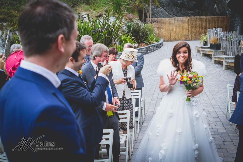 Bride seeing groom happy