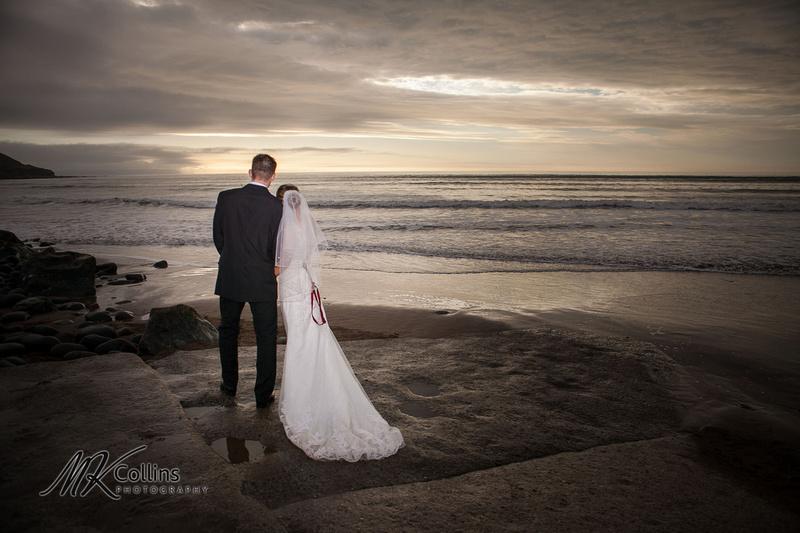 Ocean Kave wedding, bride and groom on beach