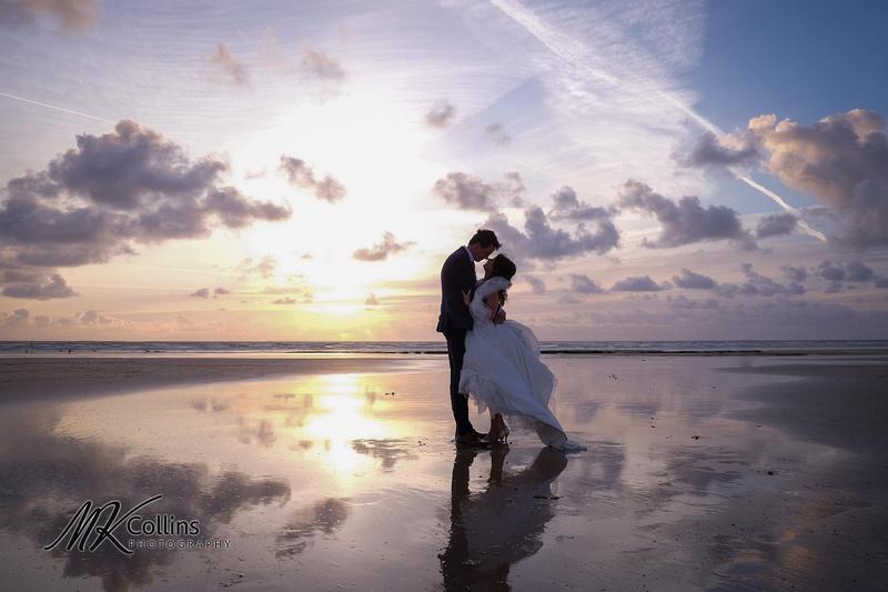 Ocean Kave wedding, Bride & Groom on a beach at sunset