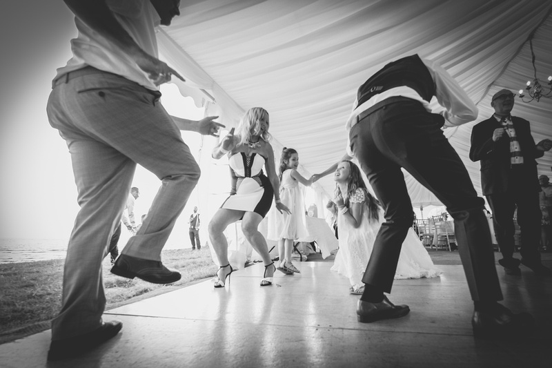 Barnstaple Guildhall and crowed beach wedding
