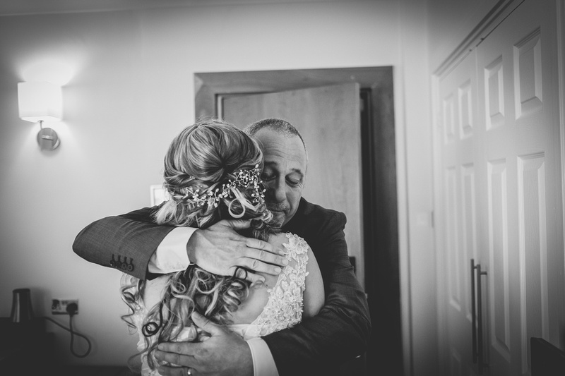 Father seeing bride in the dress