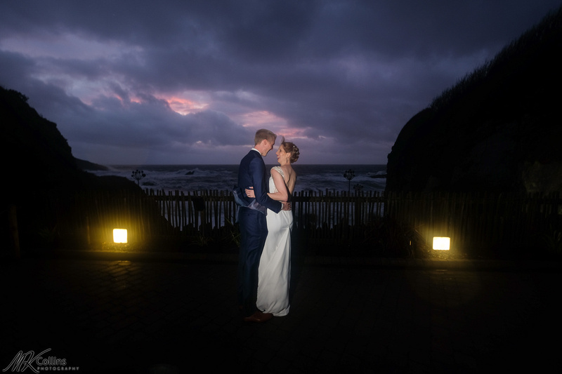 Sunset wedding photo at Tunnels beaches